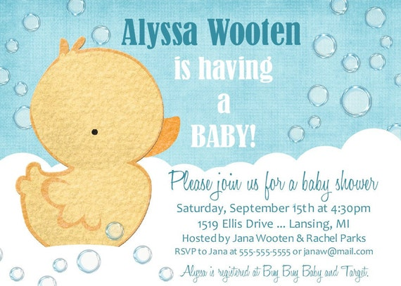 Ducky Baby Shower Invitation -- Printable Digital File