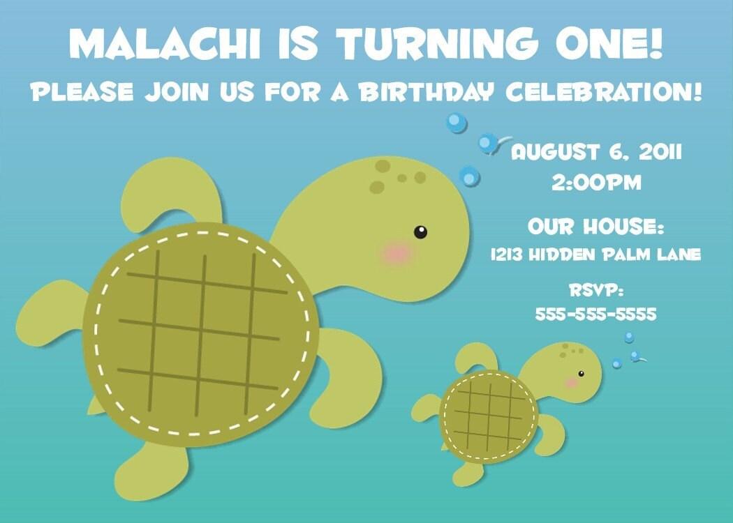 Sea turtle invitation sea turtle party invitation by sea turtle birthday invitation printable by photogreetings filmwisefo