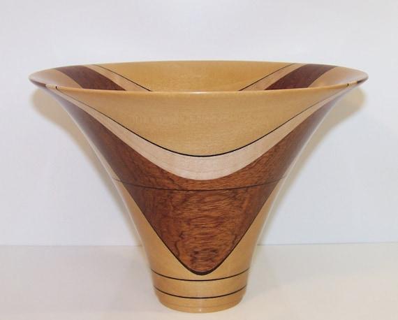 Asian Satinwood, Bubinga, and Curly Maple Wooden Smile Bowl Vase 567