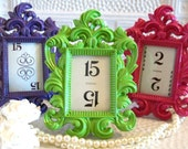15 FaBuLoUS-Small Ornate Vintage Style High Gloss Picture Frames-Chalkboard Vinyl-Vintage Table Numbers-5 Colors-Wedding-Reception-Decor