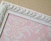DECORATIVE FRAMED MaGnET BoArD-Bulletin Board-Magnetic Memo Board-Wedding Escort Card Holder Pink and White Damask-Weddings-Nursery-Girls