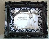 Baroque Ornate Vintage Frame-Photo Frame-Picture Frame-8x10 & 5x7 in ONE-Black Gloss-Hot Pink- Black and White Damask-Magnetic Chalkboard
