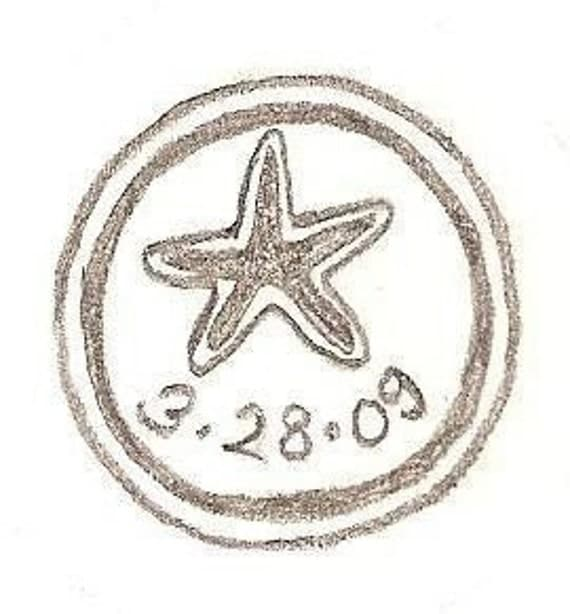 Custom starfish mounted rubber stamp with wedding date custom for Wedding dress rubber stamp