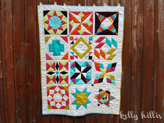 The Modern Summer Sampler Quilt - Hand Quilted - Solid Bright White Neon Colors