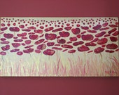Blazing Poppies, 10 x 20, Abstract Floral Acrylic Painting on Gallery Wrapped Canvas, Ready to hang