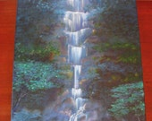 Waterfall Symphony, 16 x 20, Contemporary Acrylic Waterfall Painting on Gallery Wrapped Canvas