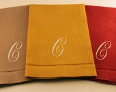 Single Initial Monogram Embroidered Linen/Cotton Hemstitched Guest Hand Towel