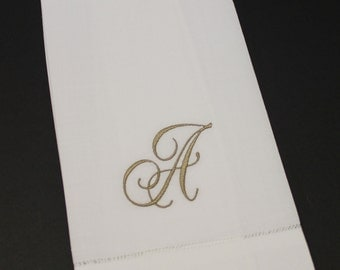 Classic Script Single Initial Monogram Embroidered Linen Hemstitched Kitchen Bath Guest Hand Towel