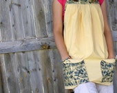 Butter Yellow with Blue print Full Apron