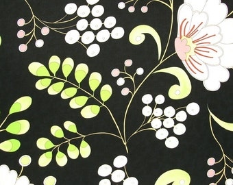 SALE  SALE  SALE    Dena Designs Snow Flower Home Decor Snow Berry in black  1 yard