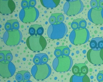 Valori Wells  Della Flannel  Little Owls in Ocean  1 /2yard
