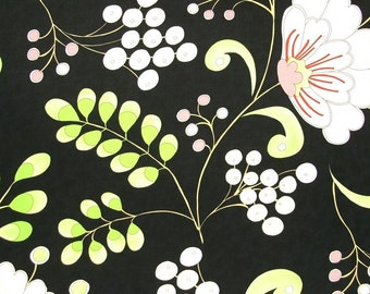 SALE SALE SALE   Dena Designs Snow Flower Home Decor Snow Berry in black  1/2 yard