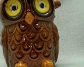 Owl jar Vintage Owl container Brown Horned Owl