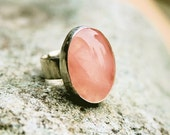 ISIS RING -   Rose Quartz Wrapped in Sterling Silver with a 3mm Sterling Silver Band                                  Size    7  3/4
