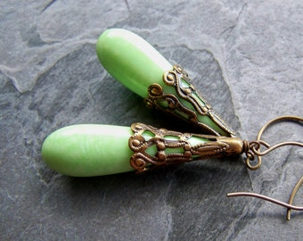 Vintage Lucite Earrings-Vintage Italian Lucite and Brass Bohemian Filigree Drop Earrings-Light Green