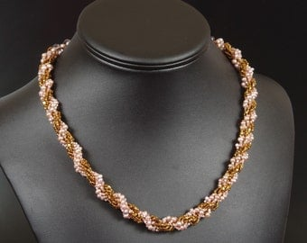 Freshwater Pearl Beadwoven Necklace: Victorian Rose