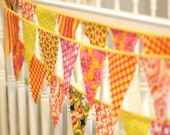 Mini pennant fabric banner - bunting in yellow, pink, and orange -- childrens decor, party decor or photo prop -- READY TO SHIP