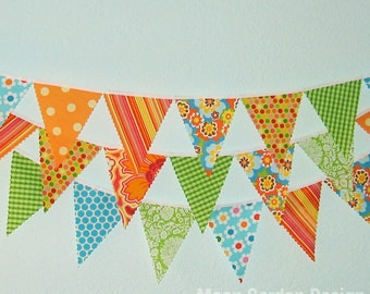 Mini pennant fabric banner - bunting in blue, green and orange- childrens decor, party decor or photo prop PARTY TIME