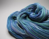 Hand Dyed, 4 Ounces, Organic Cotton and Bamboo, Self Striping Fingering Weight Yarn, Over 470 Yards in Mermaid's Home