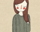 Green Sweater - Illustration Print