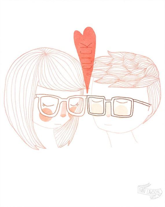 Nerd Kiss - 5 x 7 Illustration Print