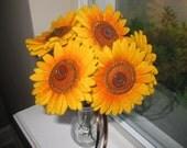Sunflower Showdown Felt Flower Bouquet--Valentine's Day, Get Well, Mother's Day, Birthday, Centerpiece, Decoration