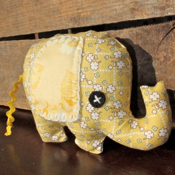 Handmade Plush Elephant Rattle with Butter Yellow Flower Print