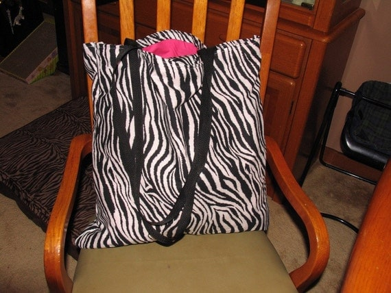 Shopping Cart cover, high chair cover, Black and white Zebra with hot pink for girl with matching bag