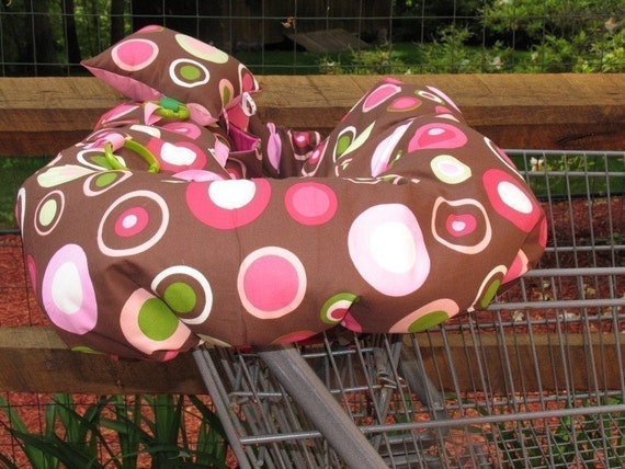 Shopping Cart cover, high chair cover, pink disco dots on chocolate brown with pocket and pillow