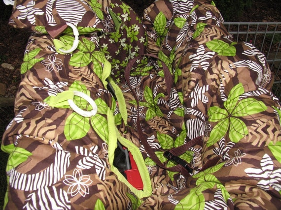 Shopping Cart cover, high chair cover, brown and lime green zebra fantasy, NEUTRAL  with pocket and pillow