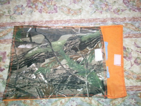 Diaper clutch, diaper and travel wipes case, camouflage and blaze orange, orange camo