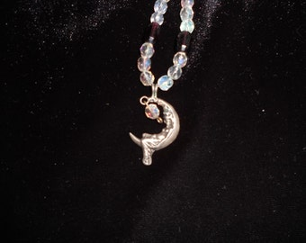 Sterling Silver Art Nouveau Moon Goddess Beaded Necklace