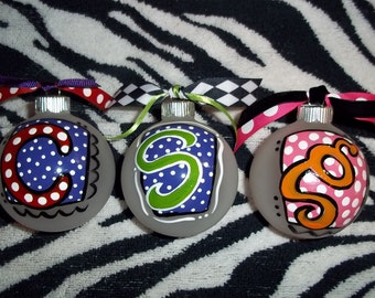 Hand painted Christmas ornaments- Set of 3
