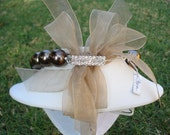 Jackie O Style Faux Pearl Necklace with Bronze Organza Ribbon Bow Bronze - Bronze Pearls
