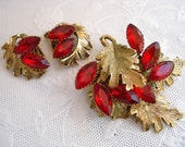 1950  - 1960 Red Rhinestone and Gold Tone Earring and Brooch Pin set