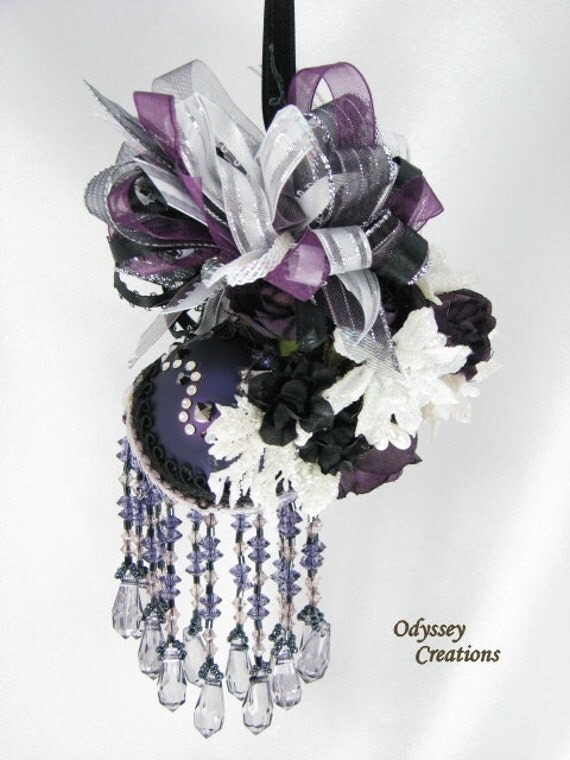 Victorian Christmas or Bridal Decoration in Dark Purple, Black and White with 35 Swarovski Crystals