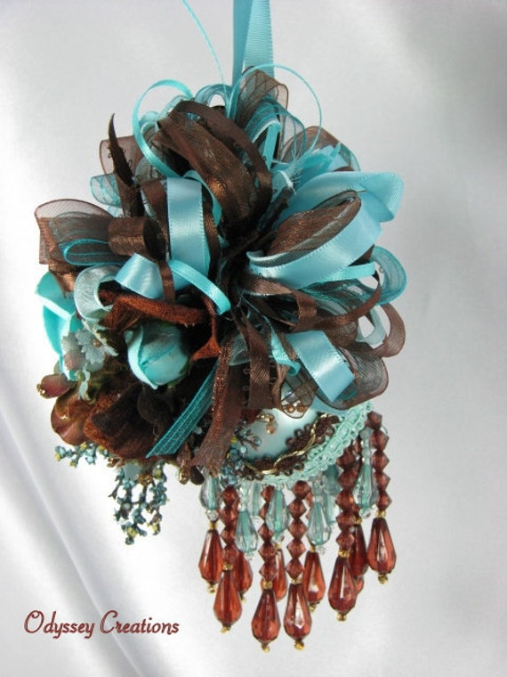 Earth and Sea - Brown and Aqua Victorian Beaded Ornament Christmas Ornament or Home Decor