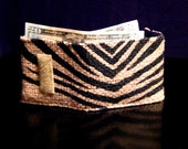 Tri Fold Burlap Coffee Bag Wallet - Black