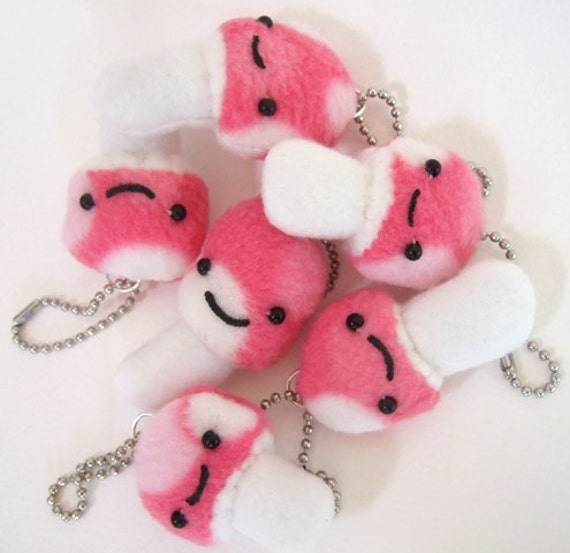 Happy Pink Mushroom Keychain