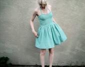 Green Gingham Picnic Pinup Girl Dress // S