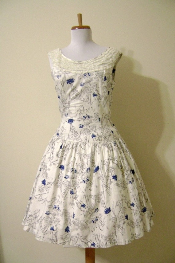 Blue and White 1950s Day Dress