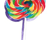 RESERVED for topp59 - Lollipop - Original Watercolor Painting