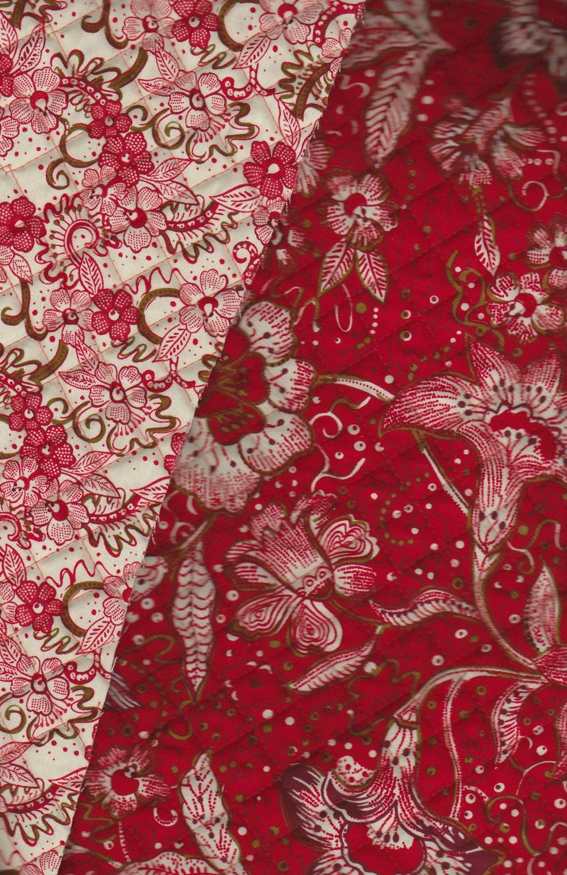 Double Faced Quilted Fabric Burnt Ruby Red Fabri Quilt