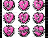 Zebra Heart Alphabet Bottle Cap Image