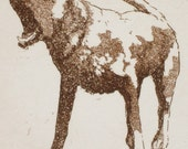 Barking Labrador Dog - Sepia Aquatint - Matted, Ready to Frame