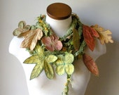 Long and Leafy Scarf- Light Spring Green with Gold and Orange Berries