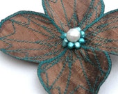 Botanical Hair Clip- You Choose Hair Clip, Bobby Pin or Brooch- Bronze with Teal Embroidery