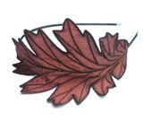 RESERVED- Oak Leaf Headband- Unique Embroidered Silk Fabric Leaf Headband- Shimmery Copper with Dark Brown Embroidery