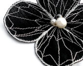 Botanical Hair Pin- Your Choice of Hair Clip, Bobby Pin, or Brooch- Black with Ivory Embroidery- Flower Hair Clip