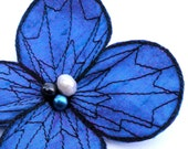 Botanical Hair Pin- Your Choice of Hair Clip, Bobby Pin, or Brooch- Ultramarine Blue (With a Shot of Fuchsia Pink) with Black Embroidery
